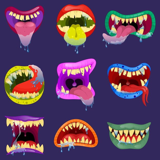 Set mouths of monsters. monster expression funny, tongue and monster mouths with teeth illustration Premium Vector
