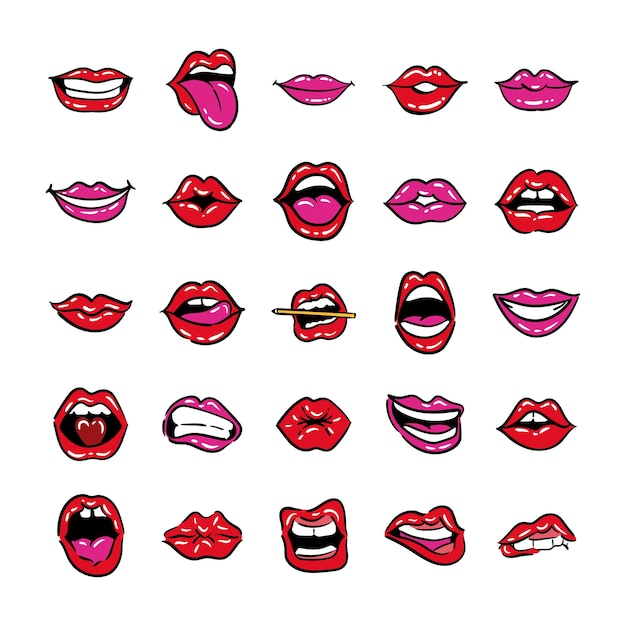 Set of mouths pop art line and fill style vector illustration design Premium Vector