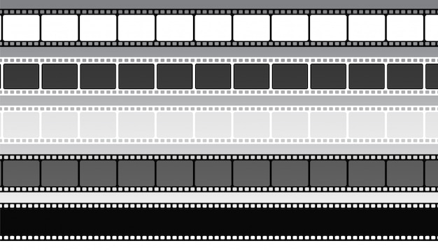 Set of movie film strips in different style Free Vector