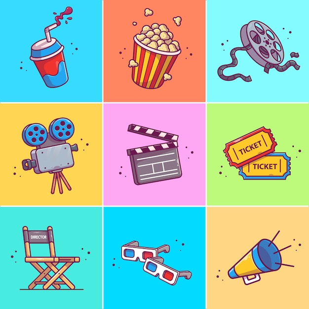 Premium Vector A Set Of Movie Icon Illustration Collections Of Movie Icons Concept Isolated Cinema, tv & films icons. https www freepik com profile preagreement getstarted 7182209