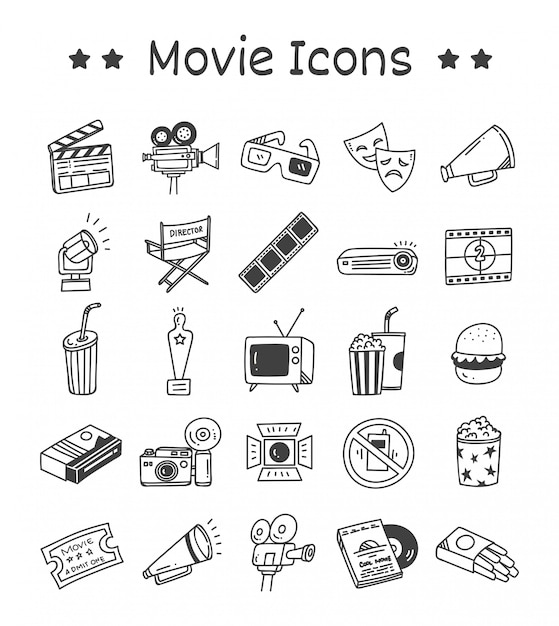 Set of movie icons in doodle style Premium Vector