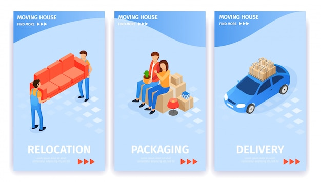 Set moving house, relocation packaging delivery. Premium Vector