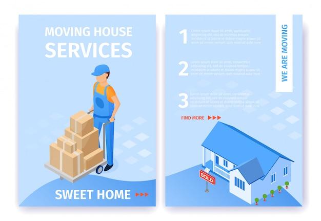 Volantino sweet home dei servizi di trasloco Vettore gratuito