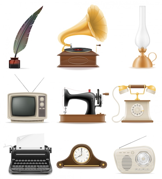 Set of much objects retro old vintage elements stock vector illustration Premium Vector