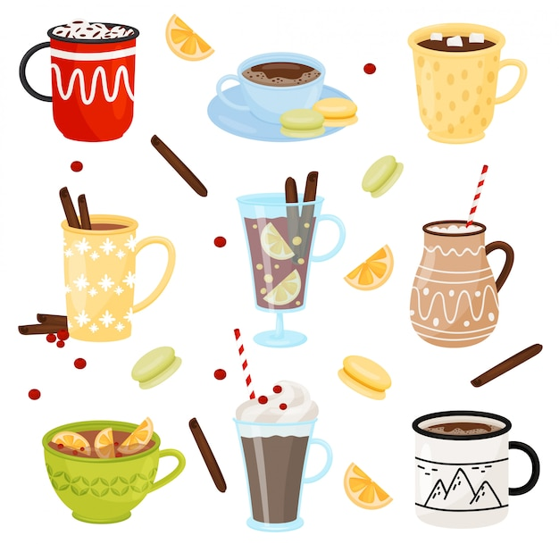 Set of mugs with hot drinks. coffee with cinnamon sticks, cocoa with marshmallows, tea and mulled wine Premium Vector