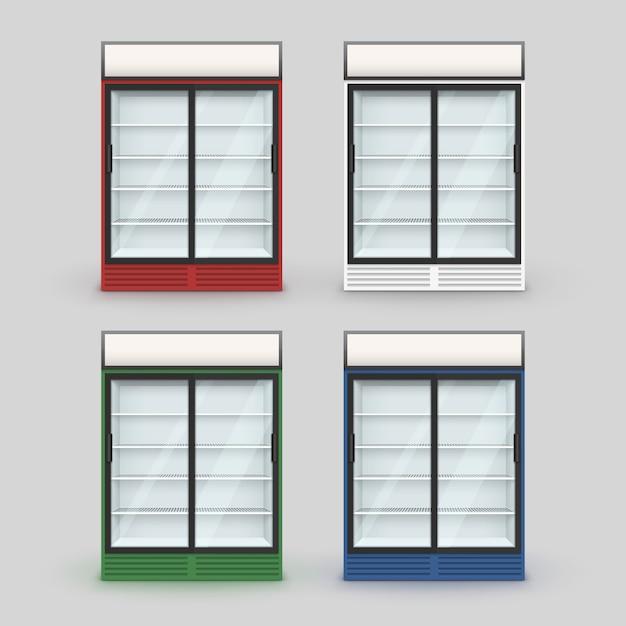 Set of multicolor fridge refrigerator freezer with transparent glass  on background Premium Vector