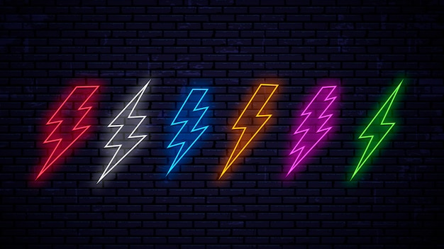 Set of multicolored bright neon lightnings isolated on wall background. neon lightning red, white, blue, yellow, pink, green color. Premium Vector