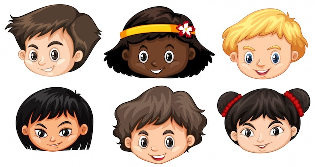 Set of multicultural kids head Premium Vector