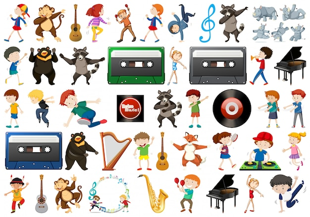 Set of music element Free Vector