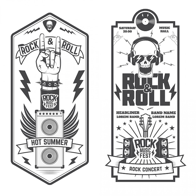 Set of the music flyers Premium Vector