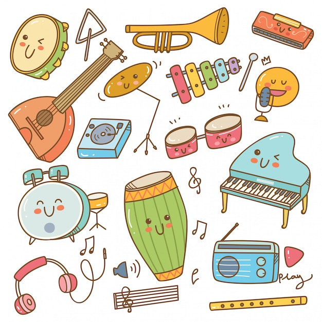Set of music instrument in doodle style Premium Vector