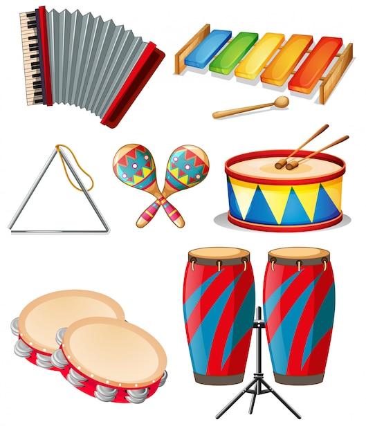 Set of music instrument Premium Vector