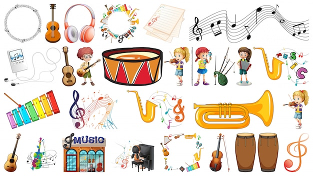 Set of music instrument Free Vector