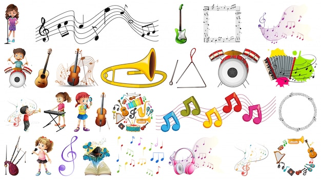 Set of music instruments Free Vector