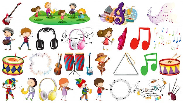 Set of music object Free Vector
