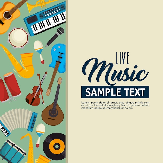 Set musical instruments icons Premium Vector