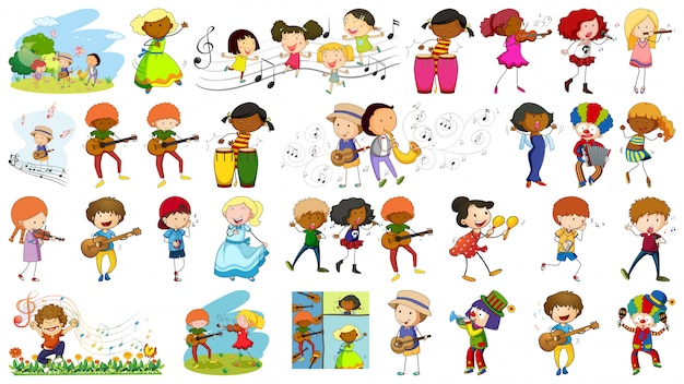 Set of musician character Free Vector