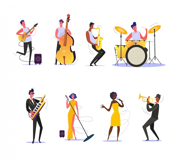 Set of musicians performing on scene Free Vector
