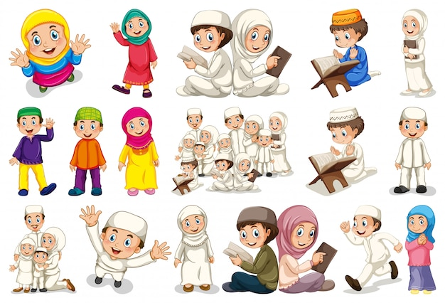 Set of muslim character Free Vector