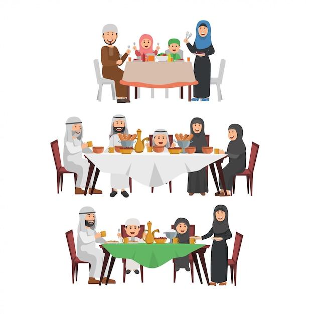 Set of muslim family enjoying iftar Premium Vector