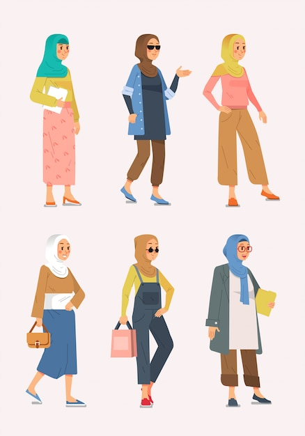 Premium Vector Set Of Muslim Hijab Style Outfit Refferences For Young And Adult Women Illustration