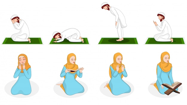 Set of muslim woman and man praying in different position. Premium Vector