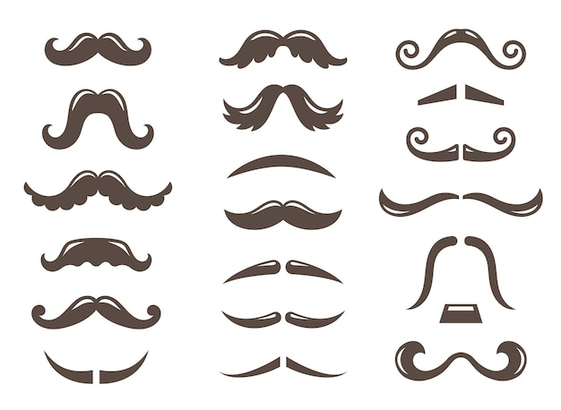 Set of mustache icons Premium Vector