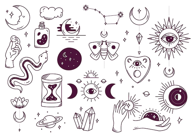 Set of mystic astronomy doodle Premium Vector