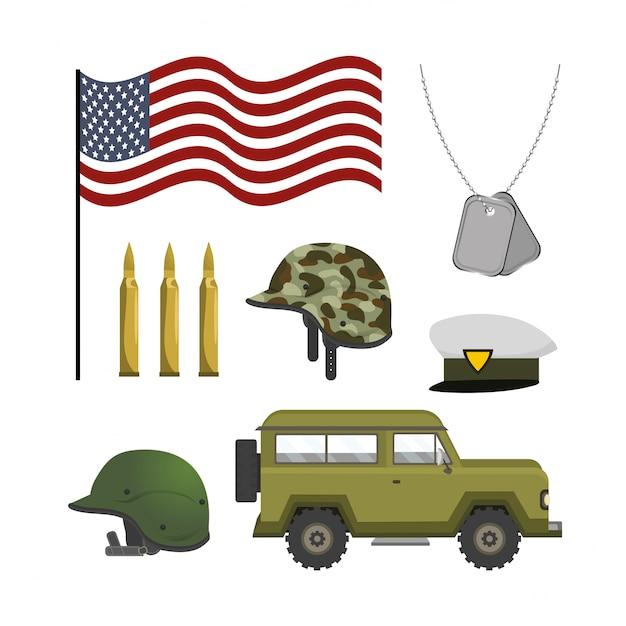 Set national army patriotic forces Premium Vector