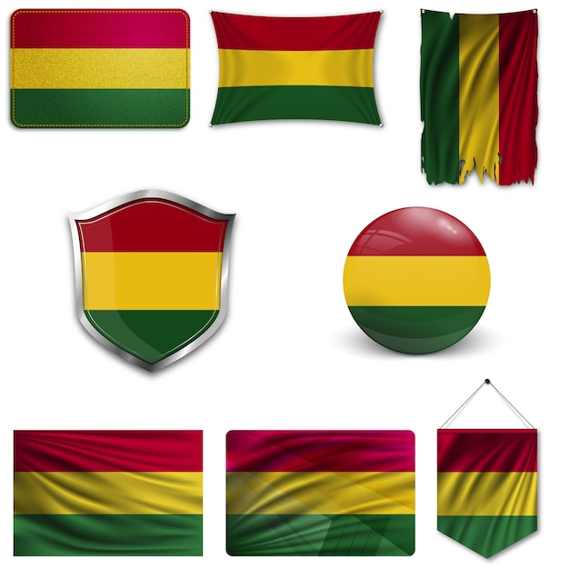 Set of the national flag of bolivia Premium Vector