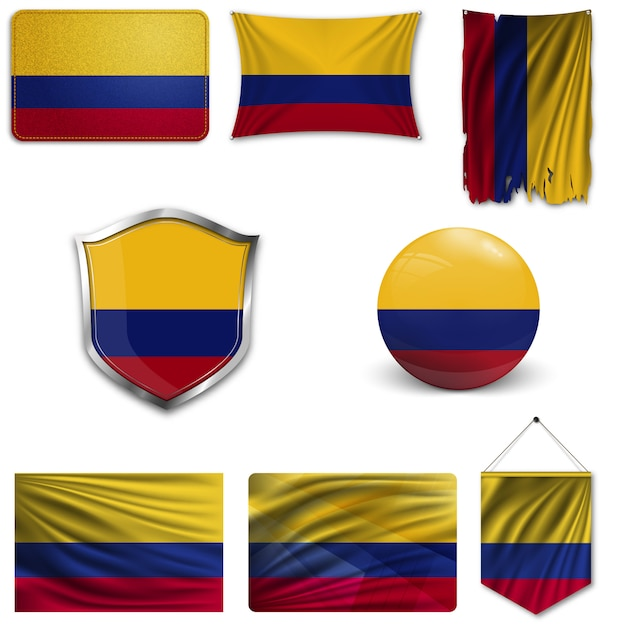 Set of the national flag of colombia Premium Vector