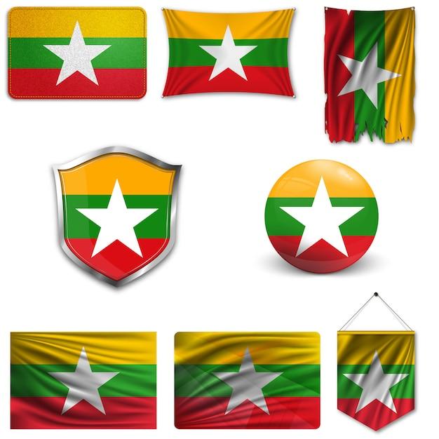 Set of the national flag of myanmar Premium Vector
