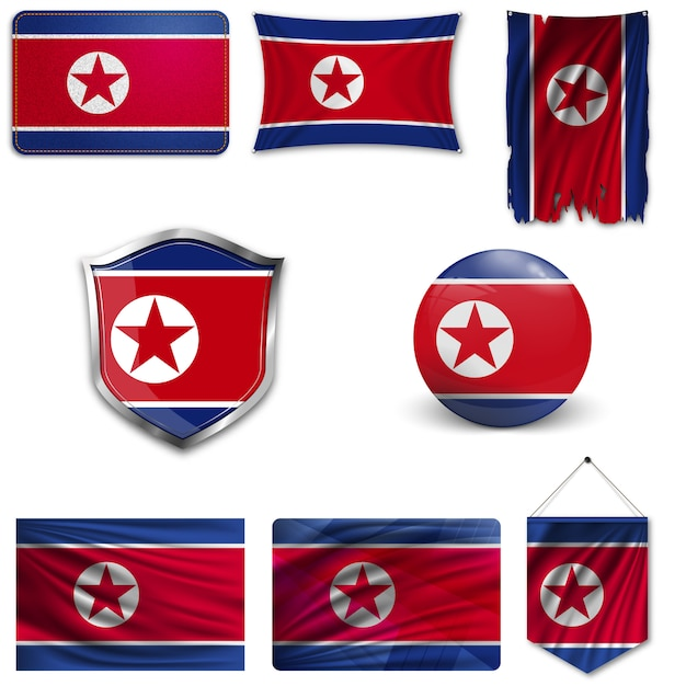 Set of the national flag of north korea Premium Vector