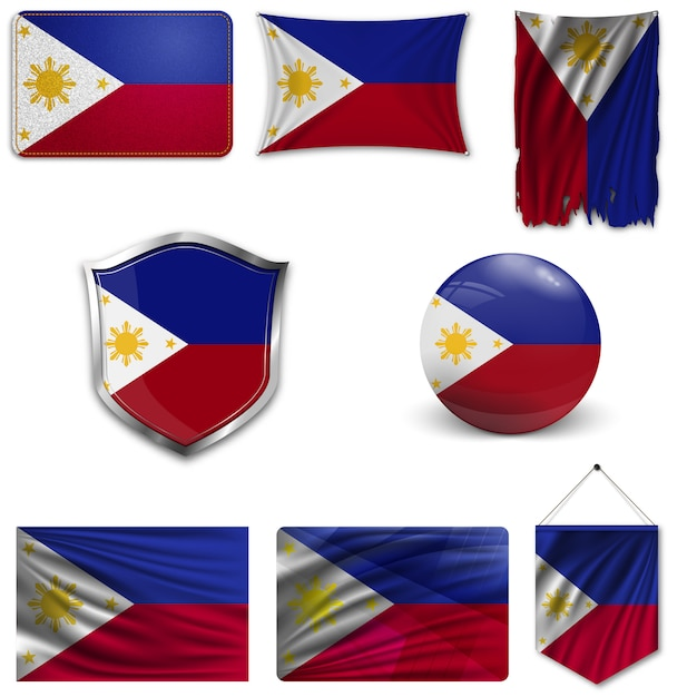 Set of the national flag of philippines Premium Vector