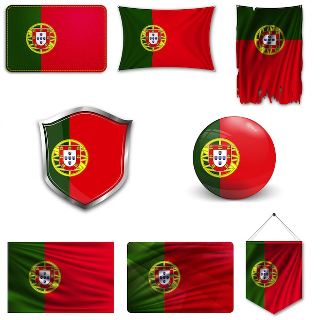 Set of the national flag of portugal Premium Vector