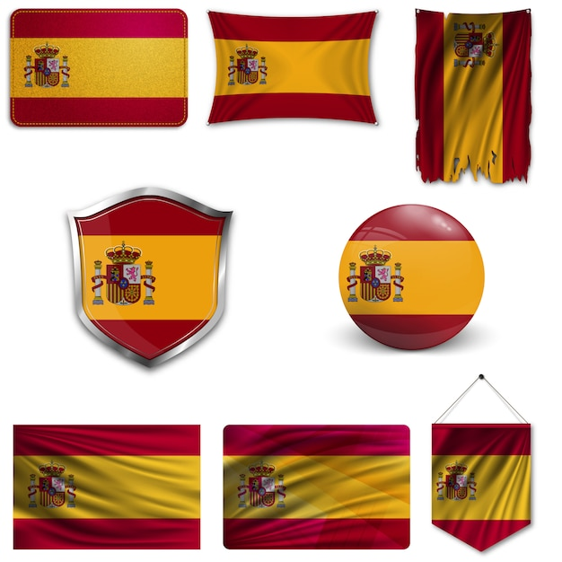Set of the national flag of spain Premium Vector