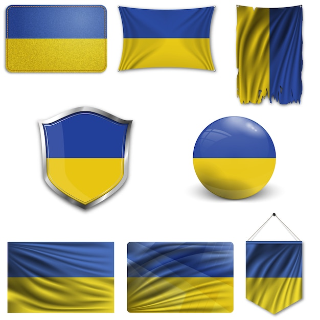 Set of the national flag of ukraine Premium Vector