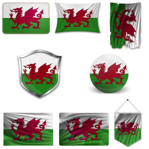 Set of the national flag of wales Premium Vector