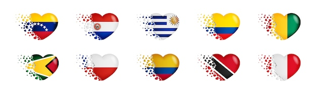 Set of national flags with fly out small hearts Premium Vector