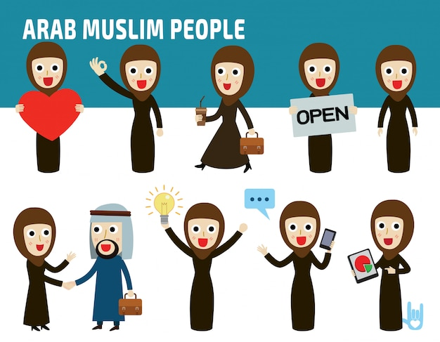 Set nationality difference poses of arab business woman. Premium Vector