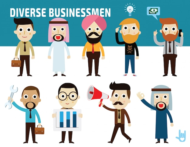 Set nationality difference poses of businessman flat cartoon icon design Premium Vector
