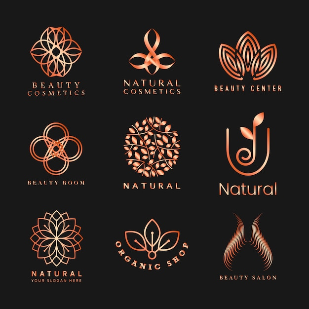 Set of natural cosmetics logo vector Free Vector