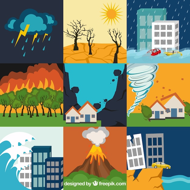 Set of natural disasters Free Vector