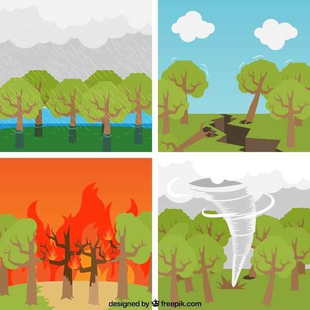 Insieme di disastri naturali Vettore gratuito