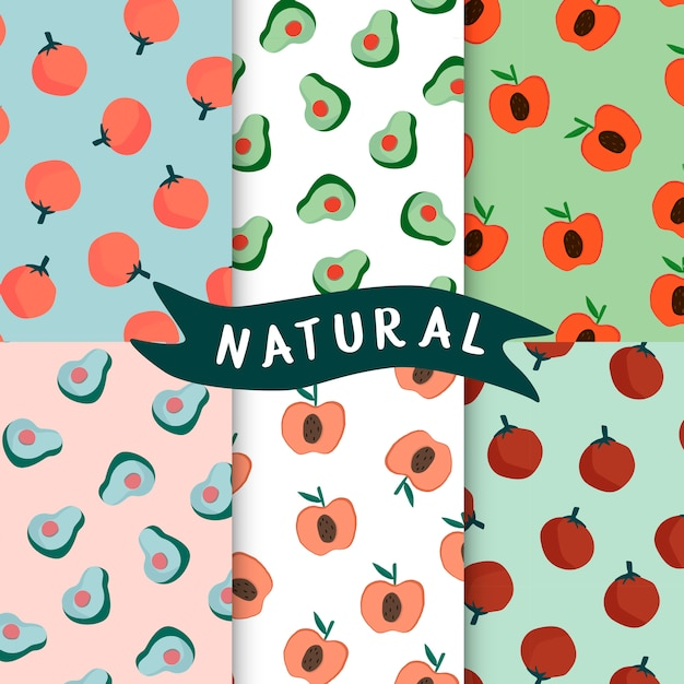 Set of natural fruit seamless patterns vector Free Vector