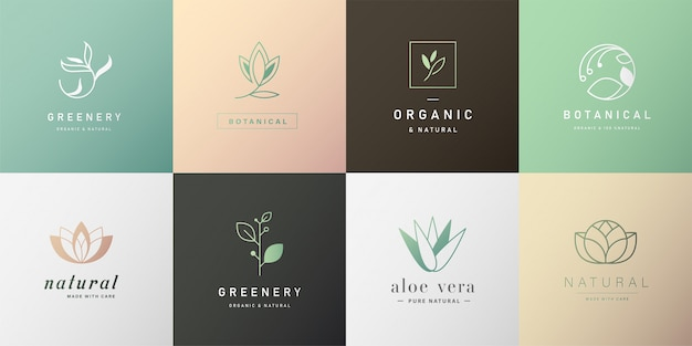 Set of natural logo for branding in modern design Premium Vector