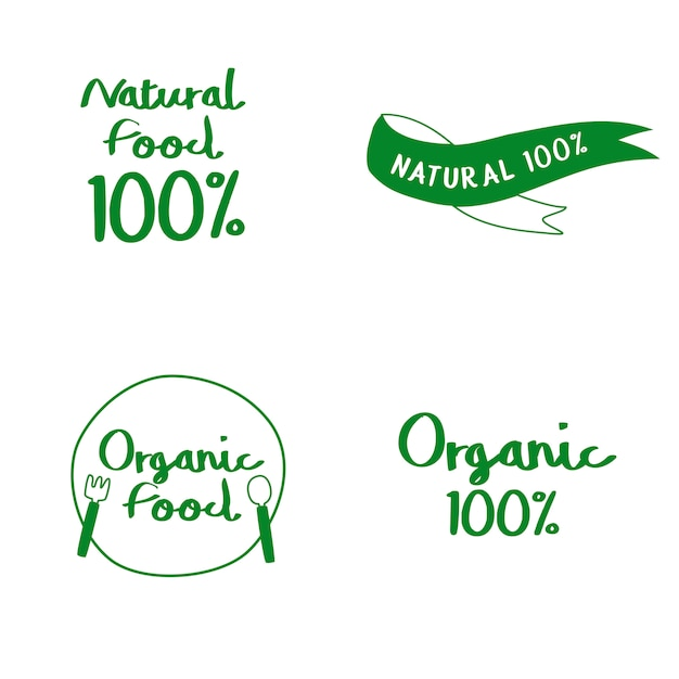Set of natural and organic food typography vectors Free Vector