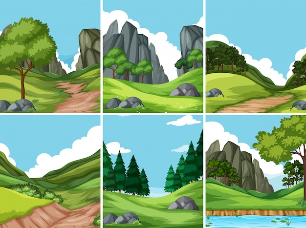 Set of nature background Premium Vector