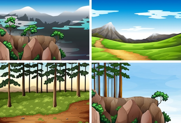 Set of nature background Free Vector