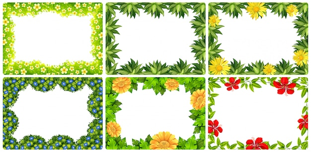 Set of nature flower frame Free Vector